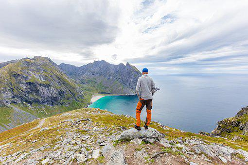 Man, Landscape, Lofoten Island, Norway, Nature, Freedom