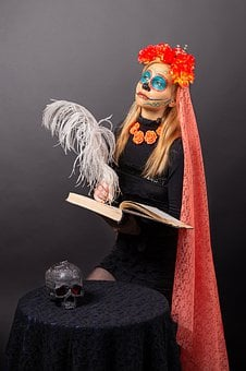 Day Of The Dead, Katrina, Skull, Mexico, Book, Makeup