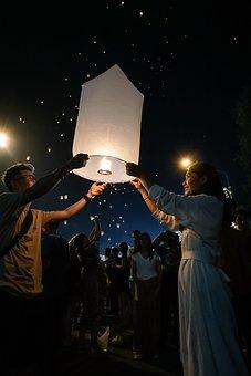 Yipeng, Light, Night, Chiangmai, Festival, Thailand