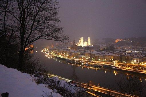 Passau, Danube, City, Night, Landscape, Winter, Travel