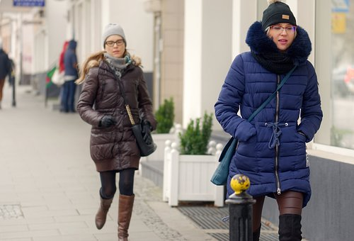 People, Women, Going, Soon, The Sidewalk