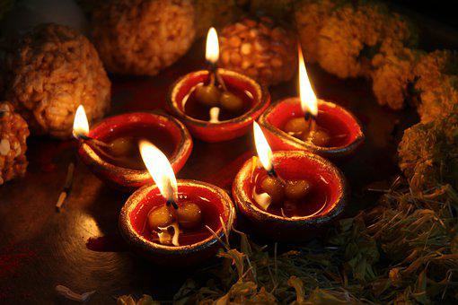 Flower, Sweets, Yellow, Red, Diwali, Hinduism, Light