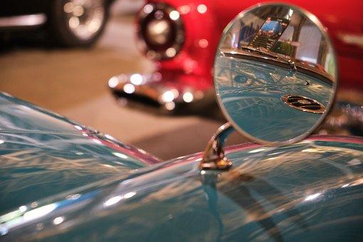 Mirror, Vintage, Retro, Historic Cars, Rare, Classic