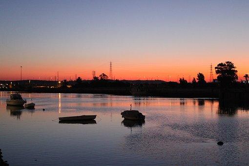 The Port Of Santa Maria, Rio Guadalete, Dawn, River