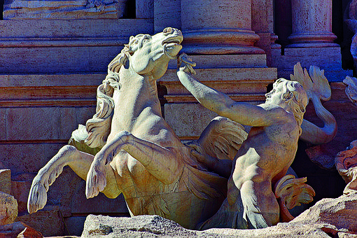 Statue, Sculpture, Figure, Stone, Trevi Fountain, Rome