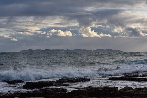 Grey, Flock, Sky, Clouds, Mallorca, Sea, Is, Wave