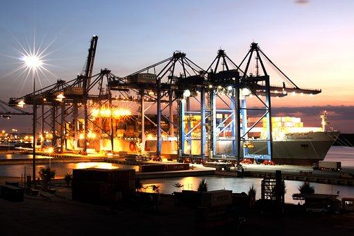 Landscape, Ship, Port, Sunset, River