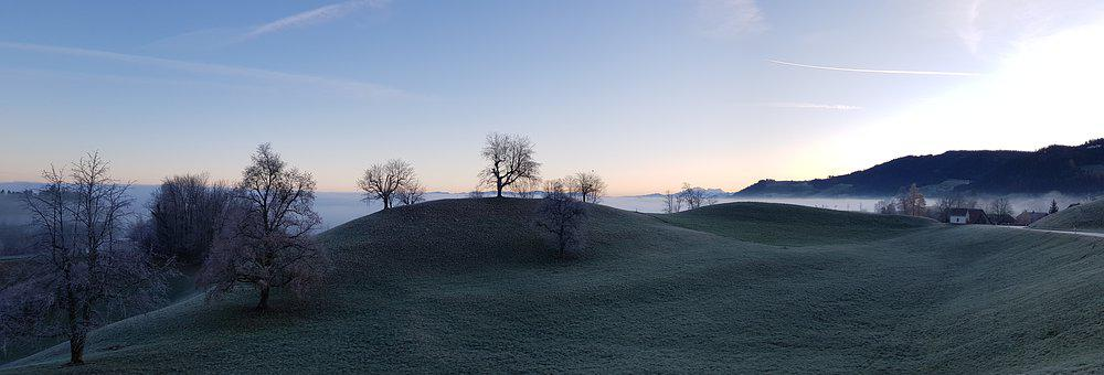 Hill, Landscape, Sea Of Fog, Sky, Trees