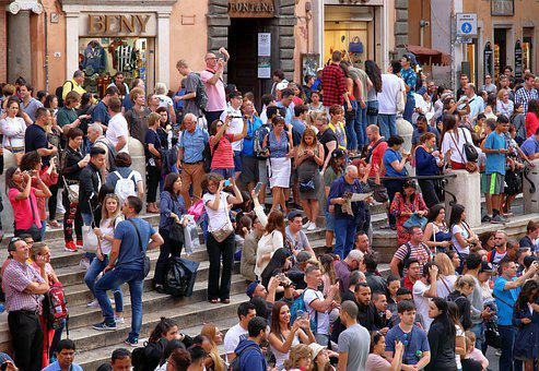 Tourists, Photography, Honeypot, Busy, Rome, Trevi