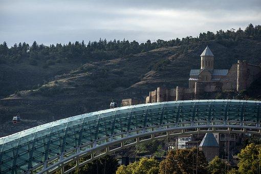 Tbilisi, Bridge, Georgia, River, City, Architecture