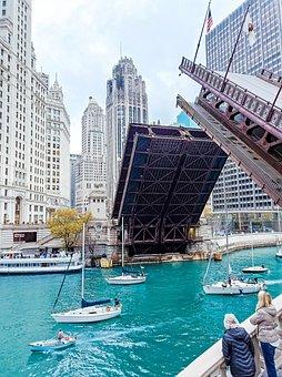 Chicago, City, America, Building, Bridge, Boat, Modern