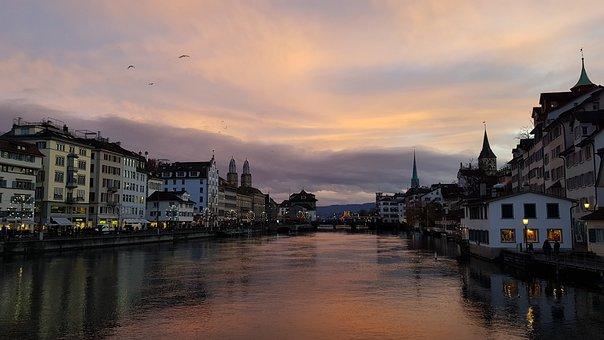 Zurich, Dusk, City, River, Church, Melancholic