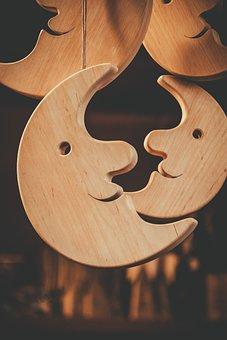 Moon, Wood, Decoration, Natural, Christmas Market