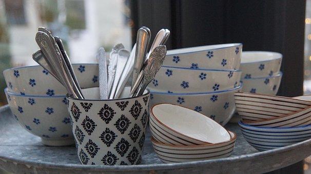 Cutlery, Tableware, Blue, White, Grey, Gold, Pattern