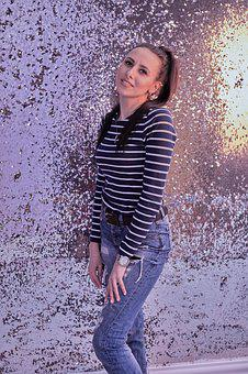Girl, New Year's Eve, Jeans, Person, Portrait, Holiday