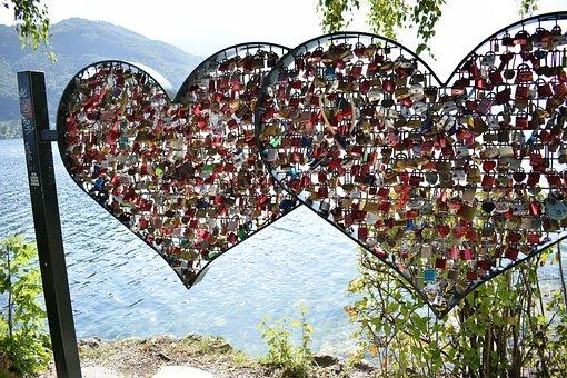 Heart, Curtain Locks, Lake, Love, Romantic, Together