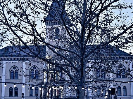 House, Building, Town Hall, Scene, Blue Hour, Lighting