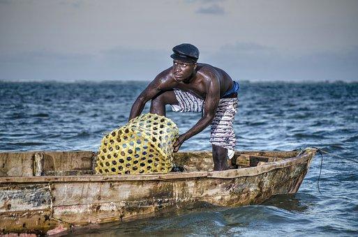 Fisherman, Sea, Kenya, Boat, Mombasa, Evening, Water