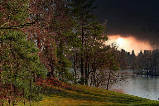 Lake, Trees, Storm, Autumn Storm, Water, Nature, Forest