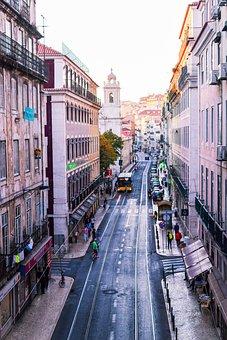 Portugal, Street, Europe, Tram, Tracks, Train, City