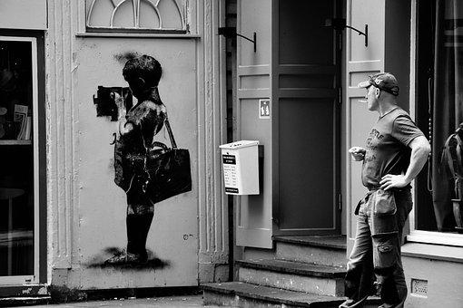 Waiting, Carpenter, Worker, Graffiti, Street, Painting