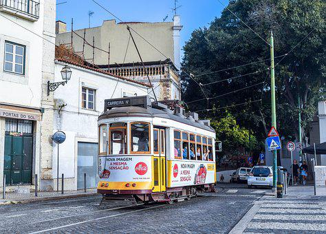 Portugal, Europe, Street, Tram, Tracks, Train, City