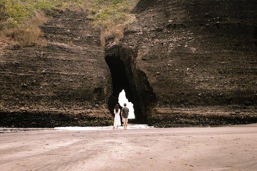 Rock, Beach, Couple, Hole, Water, Nature, Landscape