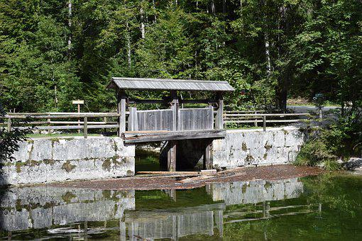 Toplitzsee, Weir, Reservoir, Lake, Nature, Mirroring