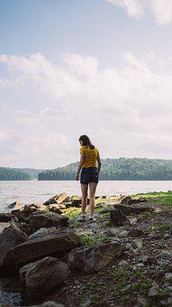 Girl, Lake, Woman, Water, Female, Vacation, Outdoors