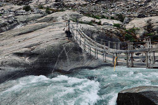 Bridge, River, Torrent, Glacier, Water, Landscape