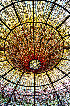 Stained Glass, Cupola, Glass, Light, Colour, Dome