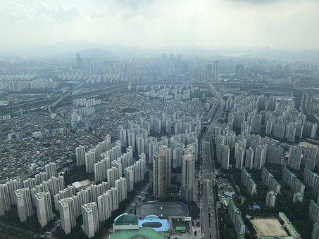 South Korea, Sky, Seoul Sky, Horizon, City, Asia, Korea