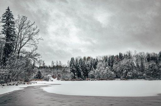 Winter, Lake, Landscape, Nature, Snow, Water, Sky