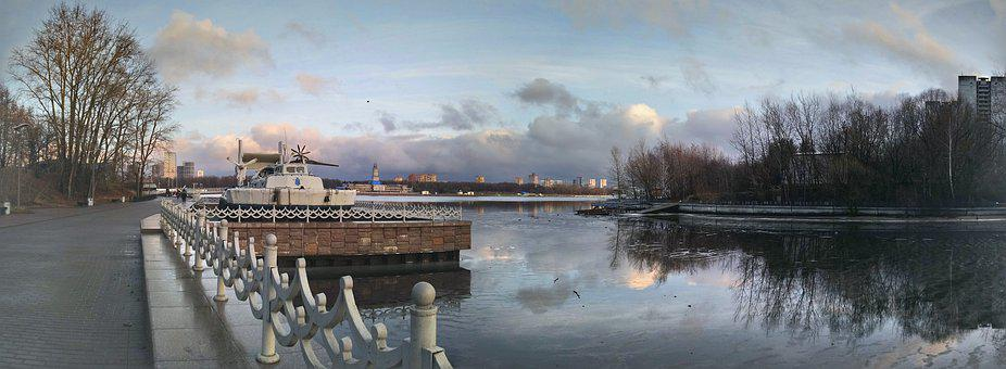Panorama, Park, Quay, Clouds, Reflection, Fence