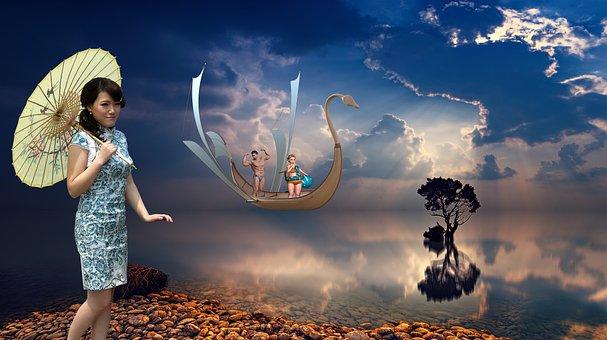 Fantasy, Sun, Sea, Sunset, Light, Surreal, Photomontage