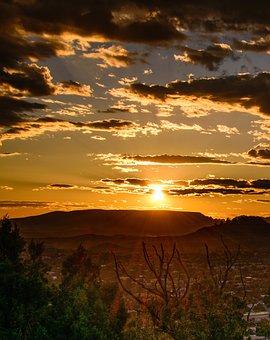 Desert, Sunset, Landscape, Western, Clouds, Sky, Nature