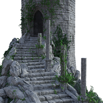 Castle, Steps, Vines, Stone, Ancient, Fantasy, Old