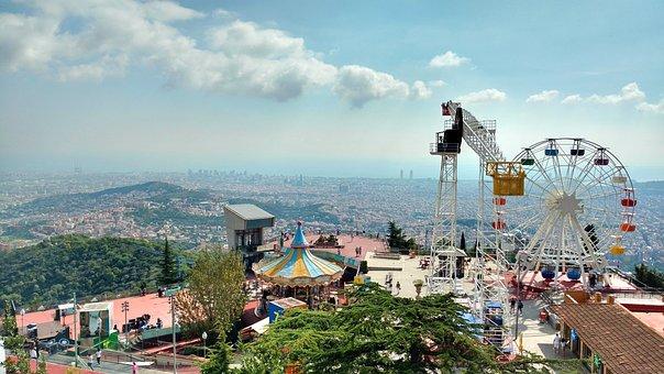 Tibidabo, Theme Park, Outlook, Panorama, Barcelona