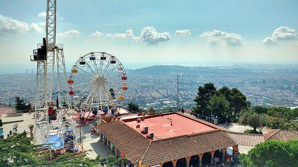 Tibidabo, Theme Park, Mountain, Barcelona, View