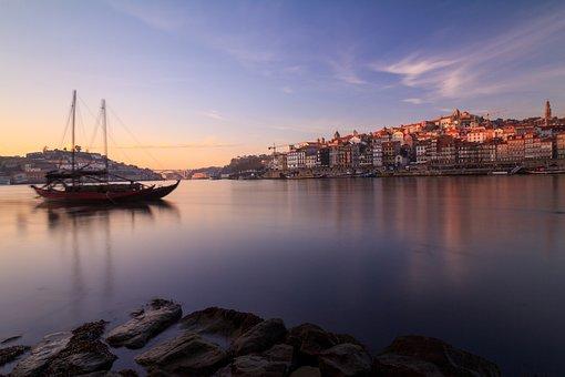 Porto, Portugal, River, Douro, Sunset, Blue Hour, City
