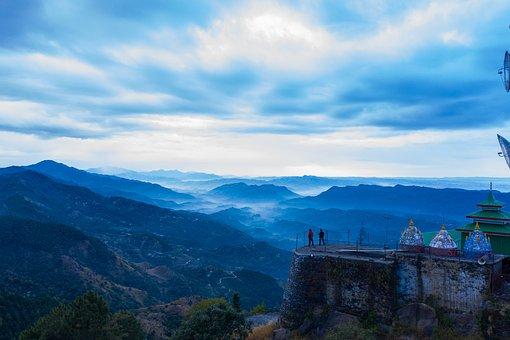 Drone View, Temple, India, Scenic, Scenery, Beautiful