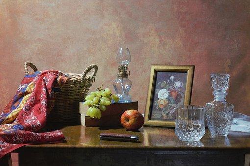 Still Life, Fine Arts, Fruits, Knife, Bottle, Glass