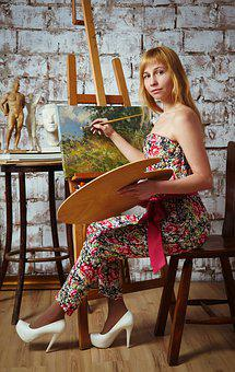 Artists, Paint, Easel, Oil Painting, Palette, Painting