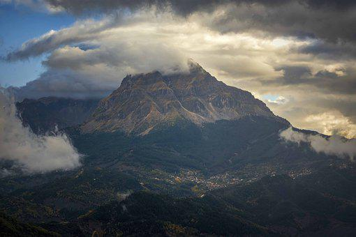 Mountain, Clouds, Outdoors, Fog, Mood