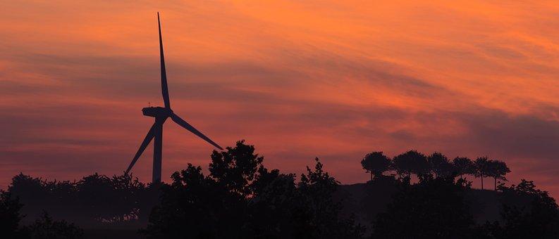 Pinwheel, Clouds, Wind Power