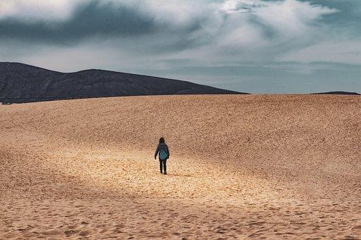 Loneliness, Desert, Landscape, Sand