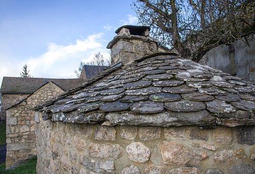 France, Lozère, Village, Roofing, Slate, Granite