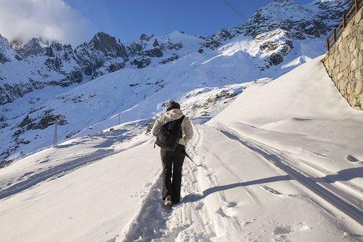 Snow, Walking, Nature, Trekking, Woman