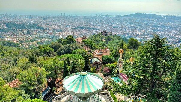 Tibidabo, Theme Park, Barcelona, Carousel, Landmark