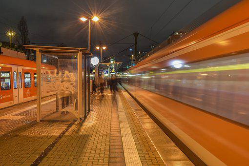 Railway Station, Platform, Train, Railway, Architecture